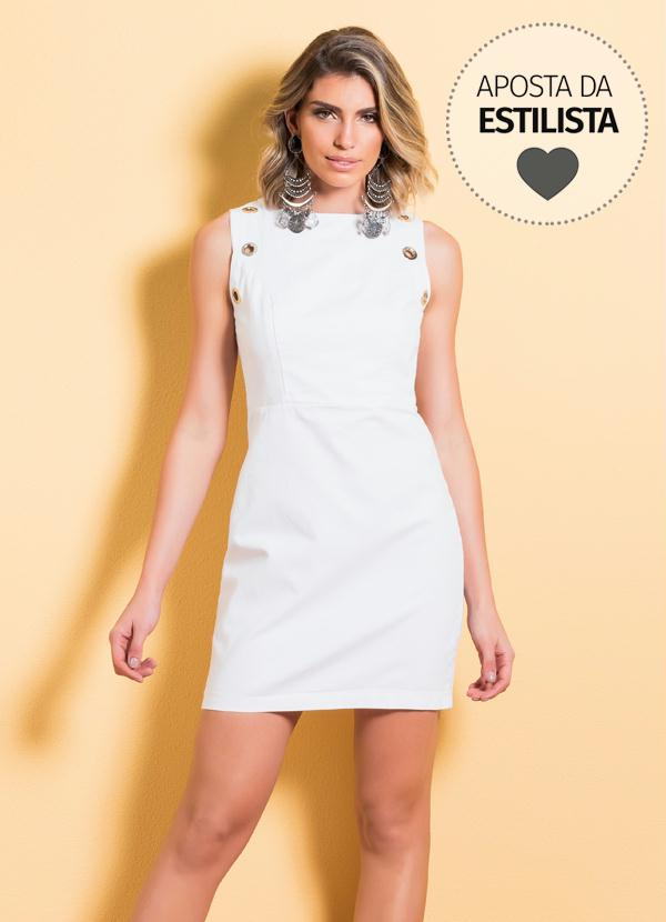 7a1803f6f Quintess - Vestido Tubinho Branco Quintess com Ilhós - Quintess