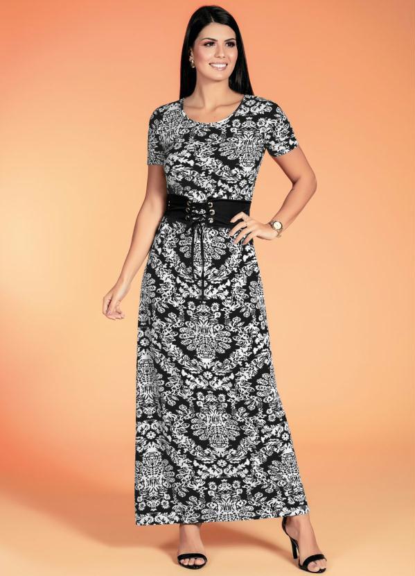 c4782c8b03 Rosalie - Vestido Longo Arabescos Moda Evangélica - Rosalie