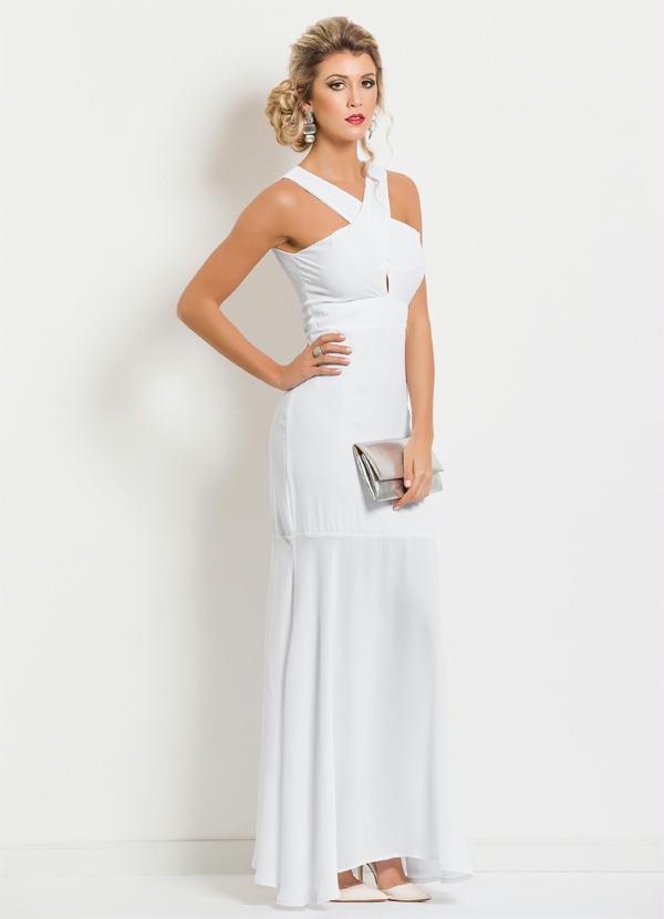 f3eeaf2aa Multimarcas - Vestido Longo com Transpasse Frontal Branco - Multimarcas
