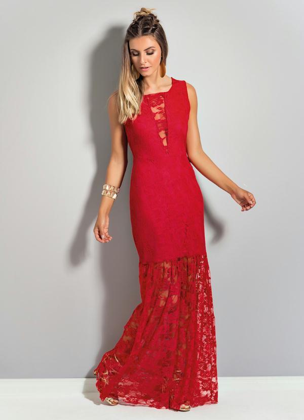 2e30188d26 Quintess - Vestido Longo de Renda Quintess Vermelho - Quintess