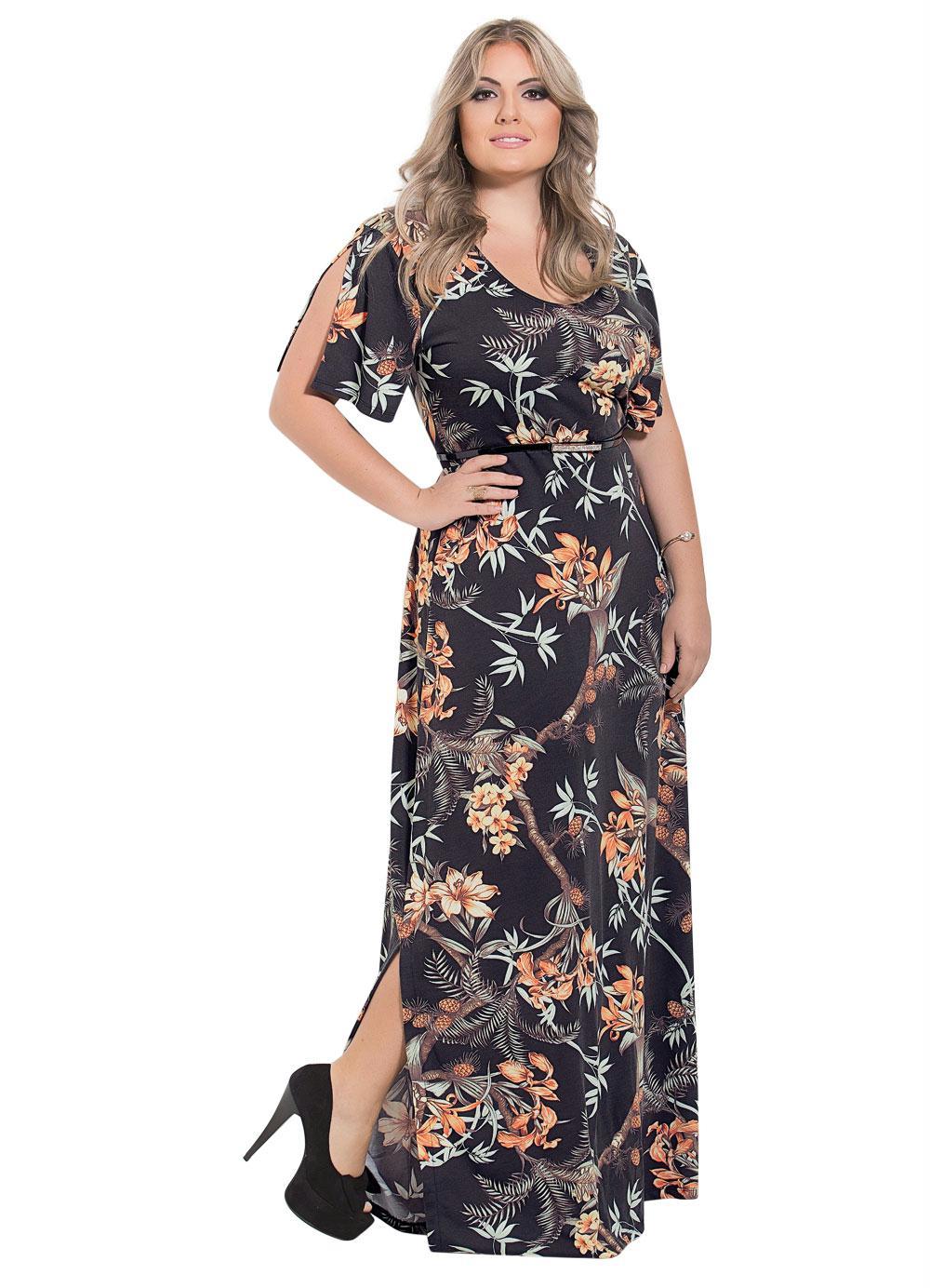 Vestido Longo Moda Evangélica Estampado - Rosalie 4d0d0b099e1c3