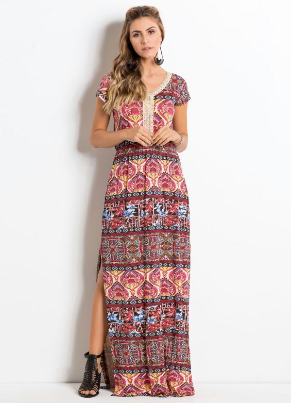 82657dd0b1aa Quintess - Vestido Longo Étnico com Fenda Lateral - Quintess