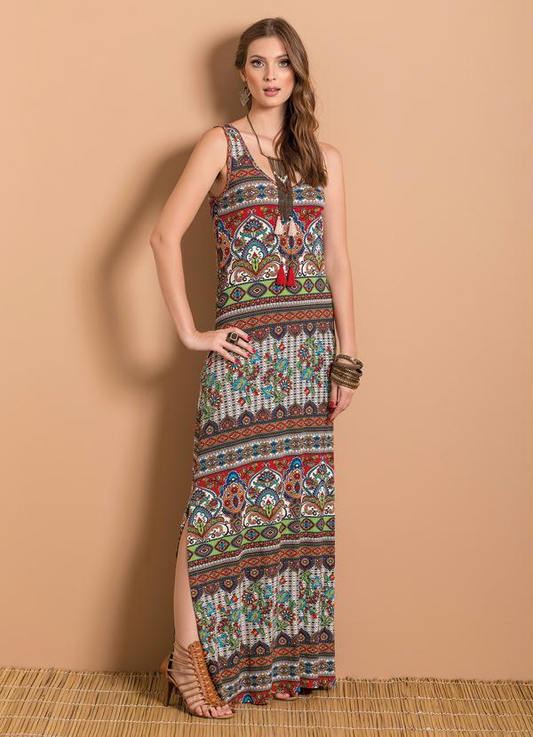 38931e43966b Quintess - Vestido Longo Étnico com Fenda - Quintess