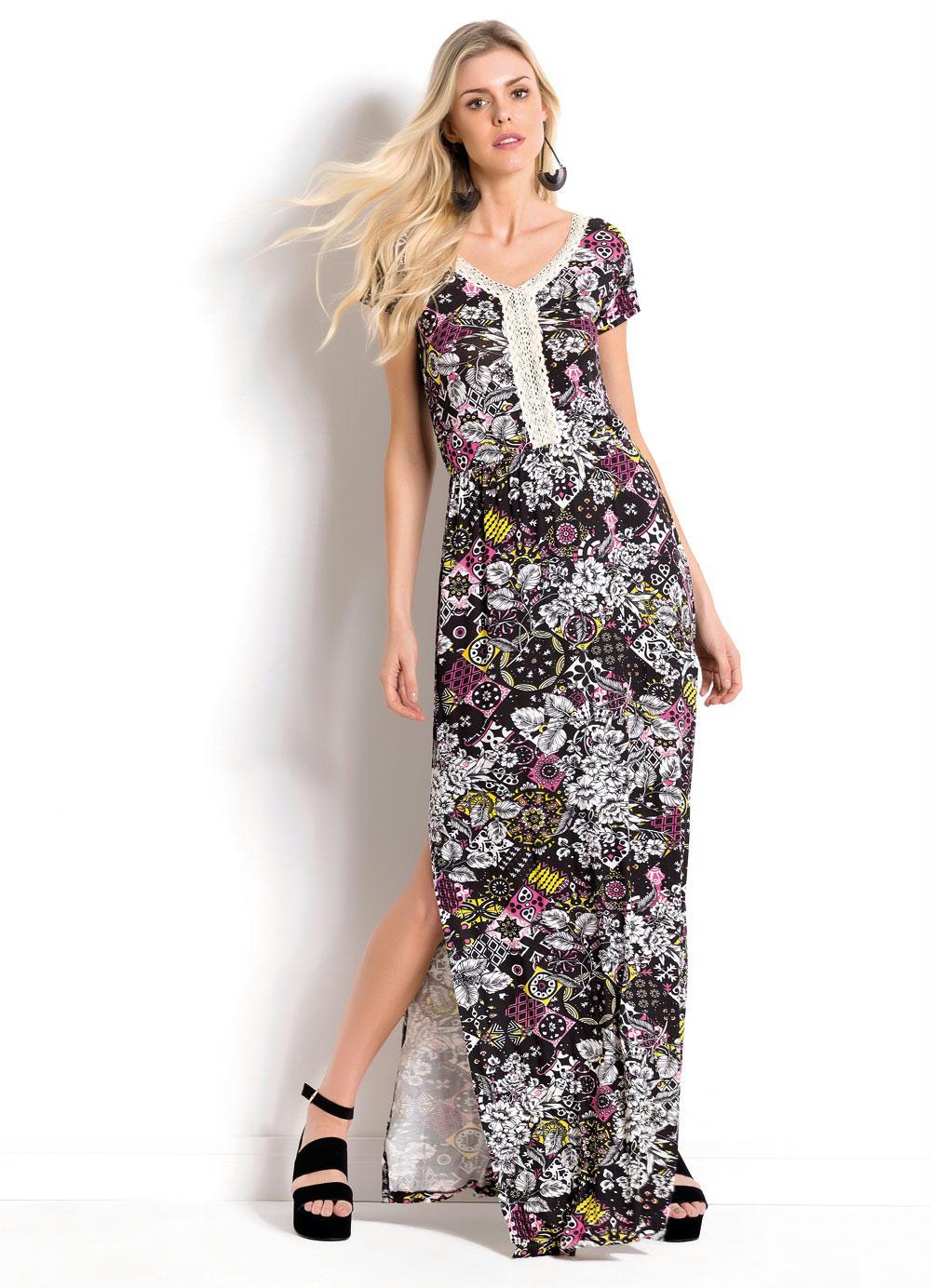 ca2fb1ed6 Vestido Longo Floral com Fenda Lateral Quintess - Quintess