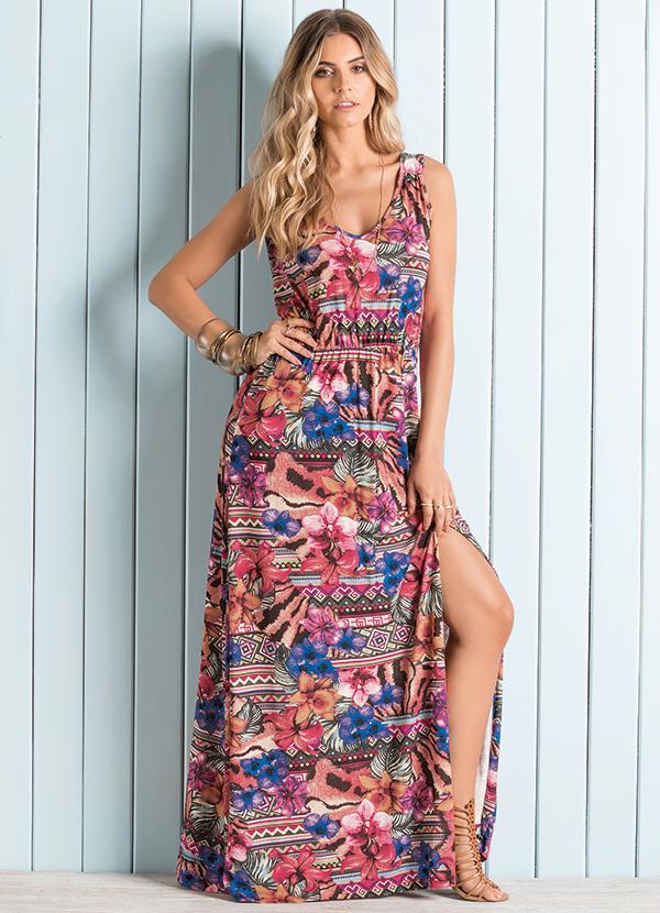 8e7f94b87836 Quintess - Vestido Longo Floral Étnico com Fenda Lateral - Quintess