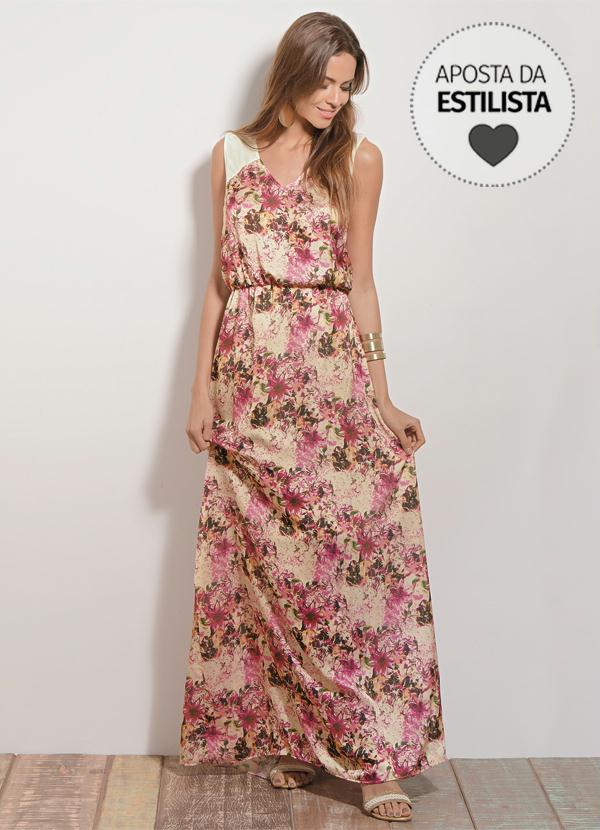 3bef0801f Quintess - Vestido Longo Floral Quintess em Cetim - Quintess