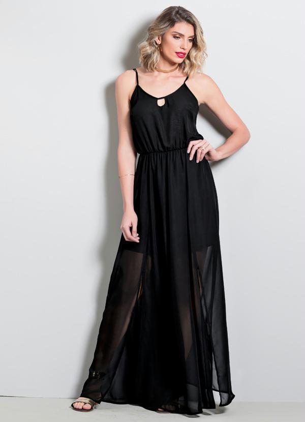 2fe7a2ac86 Quintess - Vestido Longo Quintess Preto com Transparência - Quintess