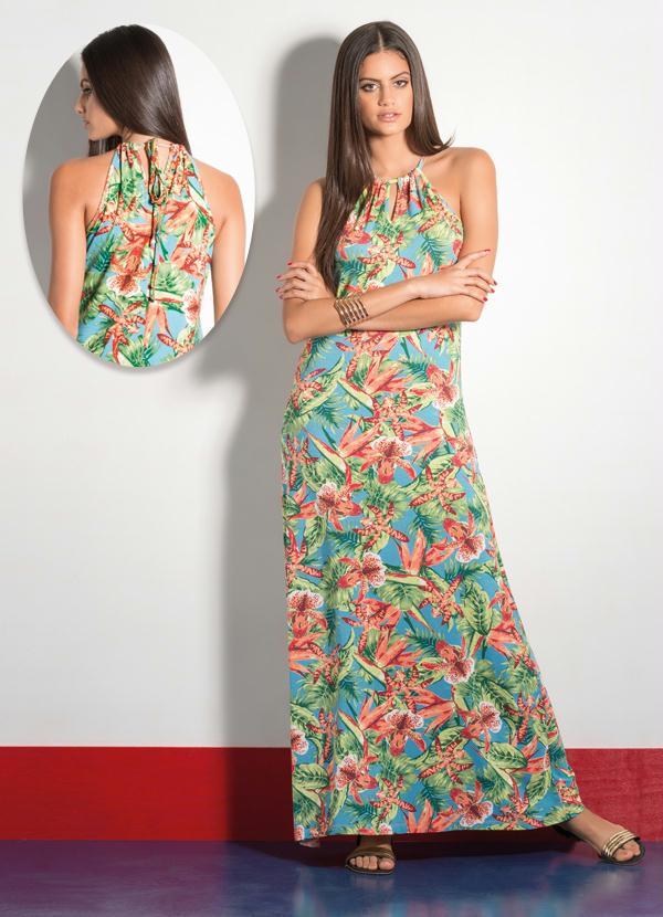 1ae120557 Quintess - Vestido Longo Tropical com Alças Finas - Quintess