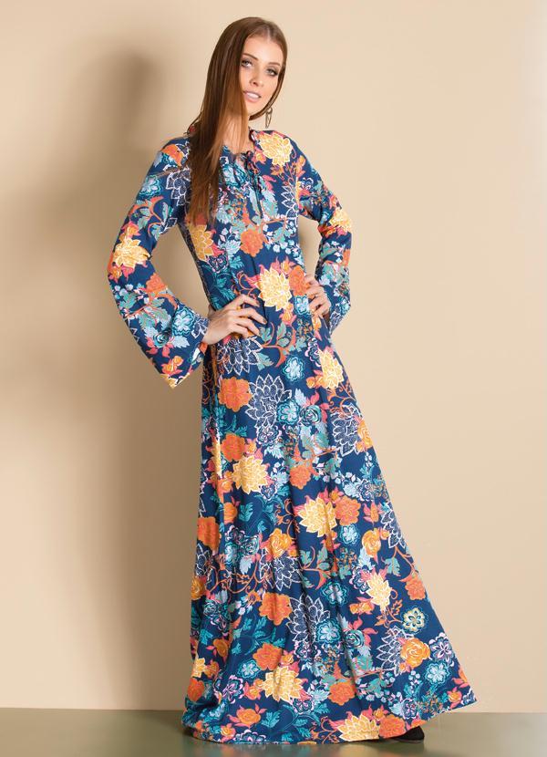 Vestido Longo Mangas Sino Floral Azul - Quintess f585196085e8a