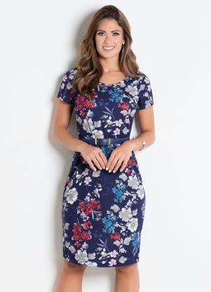4d9bd3c60f produto Rosalie - Vestido Decote Redondo Flores Moda Evangélica