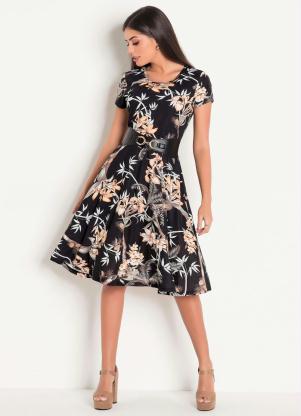 46f251e3d produto Rosalie - Vestido Decote Redondo Moda Evangélica Estampado