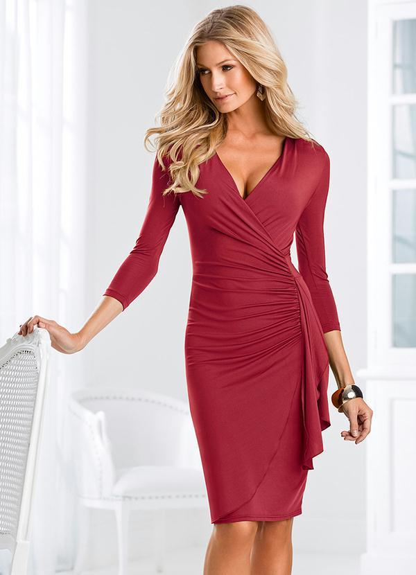 1205b51c9 bonprix - Vestido Decote V Vermelho - bonprix