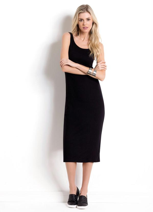 4f6ff5e72 Quintess - Vestido Midi Preto Quintess com Fenda na Barra - Quintess