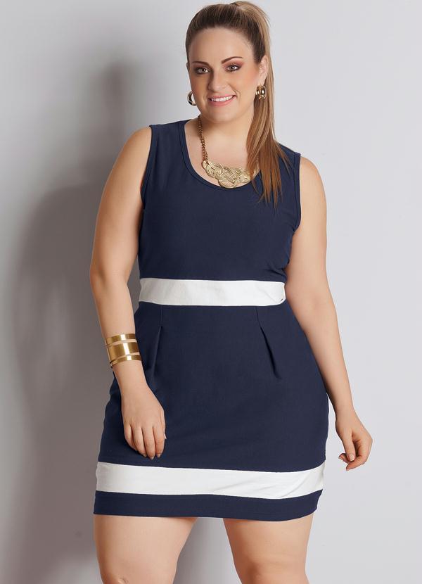 3342fc6c5 Quintess - Vestido Bicolor Plus Size Azul Marinho e Branco - Quintess