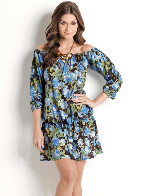 Queima Estoque Vestido Ciganinha Floral