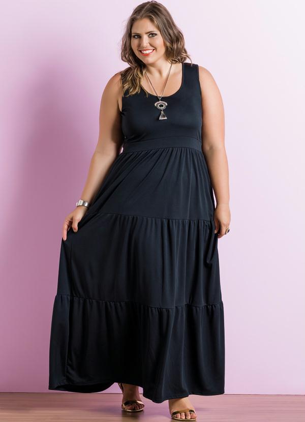 f175bfaf3d Vestido com Decote Redondo Preto Plus Size - Marguerite