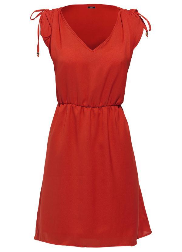 c93d3df25 Mink - Vestido Crepe Decote V Vermelho - Mink