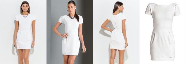 7fa139c23a 0.5677192211151123 Vestido Curto com Detalhe de Pregas Branco