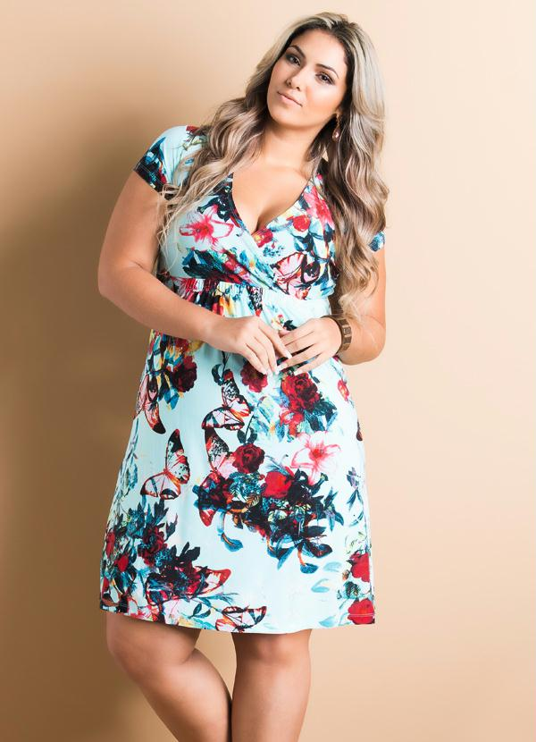 dc94cef12 Quintess - Vestido Decote em V Floral Plus Size - Quintess