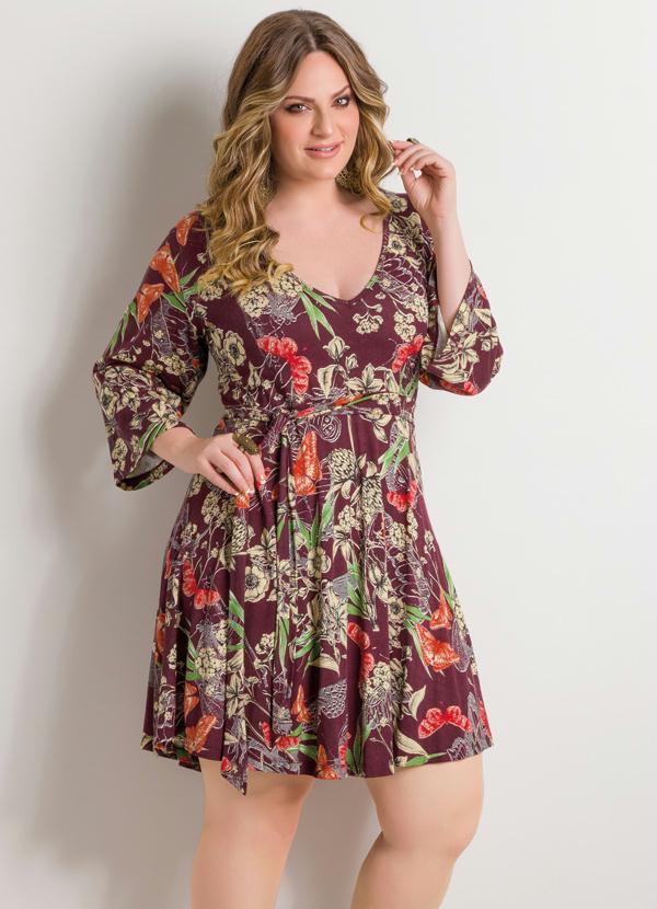 9d8169bba Quintess - Vestido Decote em V Floral Plus Size - Quintess