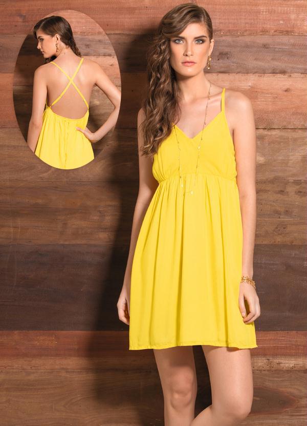 c6f012eb9d Quintess - Vestido Evasê com Decote V Amarelo - Quintess