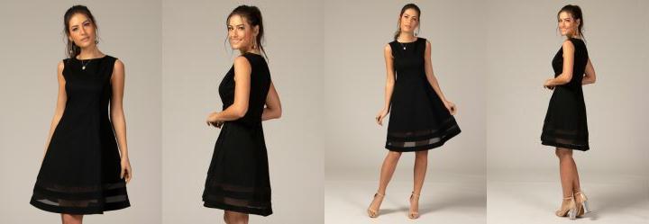 e24f212094 0.0 Vestido Evasê com Transparência Preto Plus Size