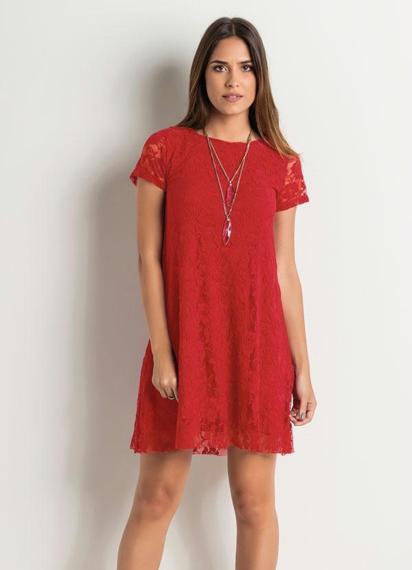 bc50d9db37 Vestido Evasê em Renda Vermelho - Quintess Outlet