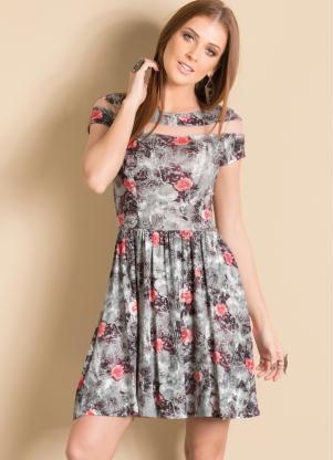 2541173c29e89 Vestido Floral com Detalhe Transparente - Quintess Outlet