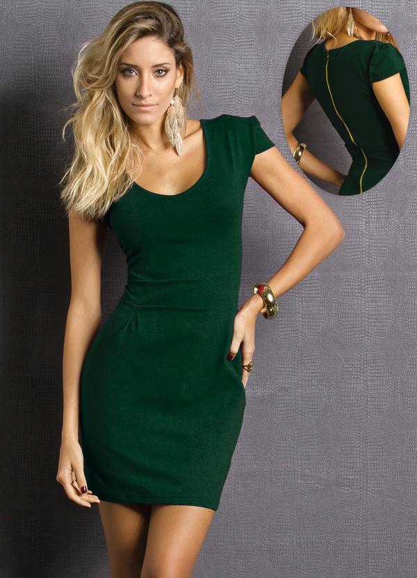 a320e3360a Vestido Justo Manga Curta Verde - Quintess