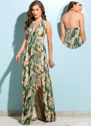 2e6432b5f Quintess - Vestido Longo com Fenda Estampado - Quintess