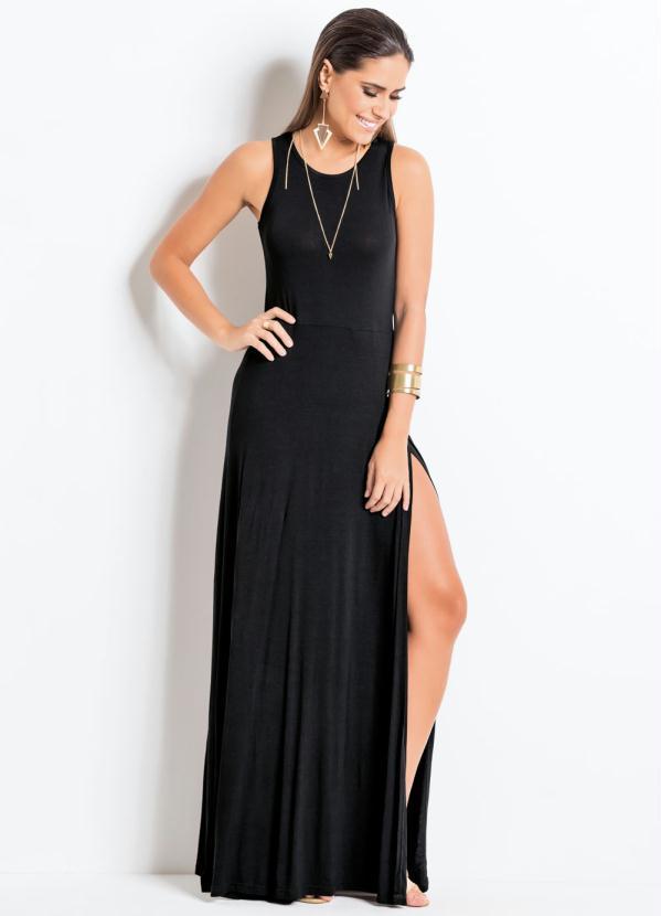 Quintess Vestido Longo Com Fenda Preto