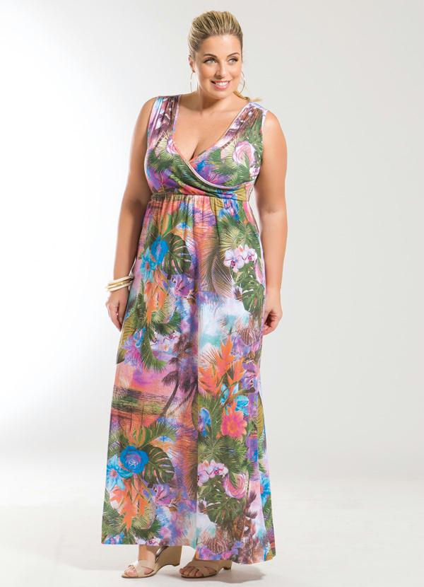 513ab0897 Marguerite - Vestido Longo Decote V Tropical Plus Size - Marguerite