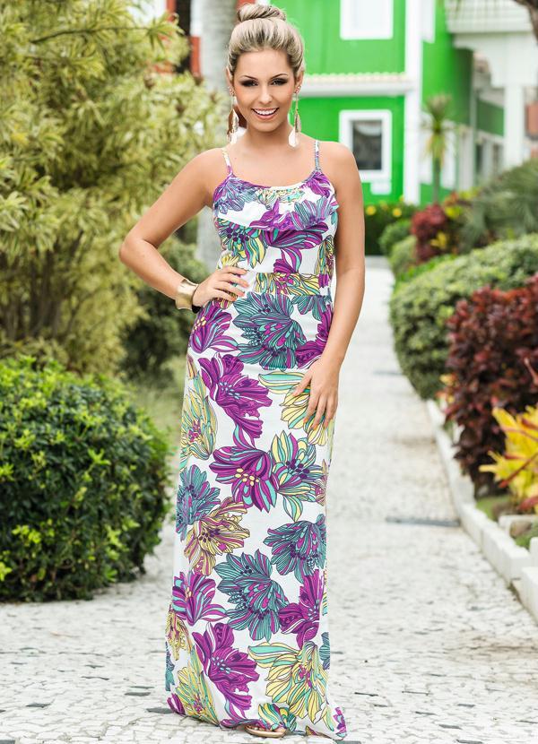 acbbb2818 Queima Estoque - Vestido Longo Estampa Floral - Queima de Estoque
