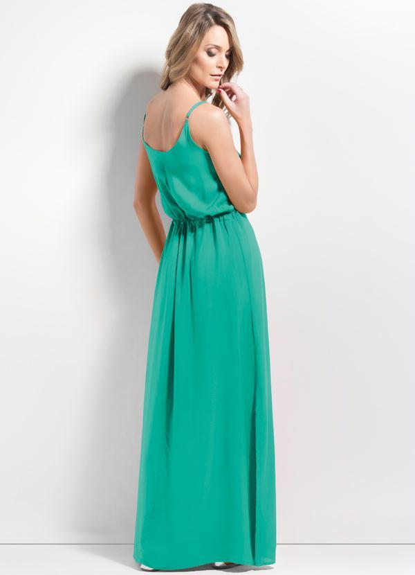 f60778bcdc Mink - Vestido Longo Fenda Verde - Mink