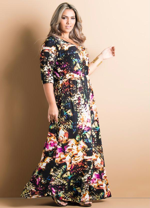 2f044eafc Quintess - Vestido Longo Floral Mangas 3 4 Plus Size - Quintess