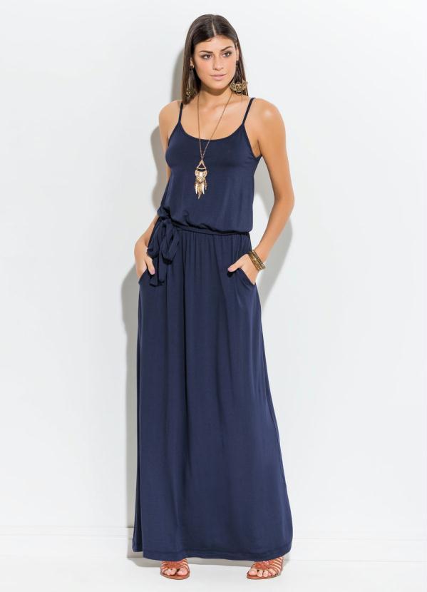 Vestido azul marinho longo comprar