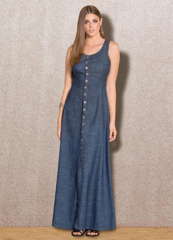 11f92b2fa1 Quintess - Vestido Longo Quintess Jeans Escuro com Botões - Quintess