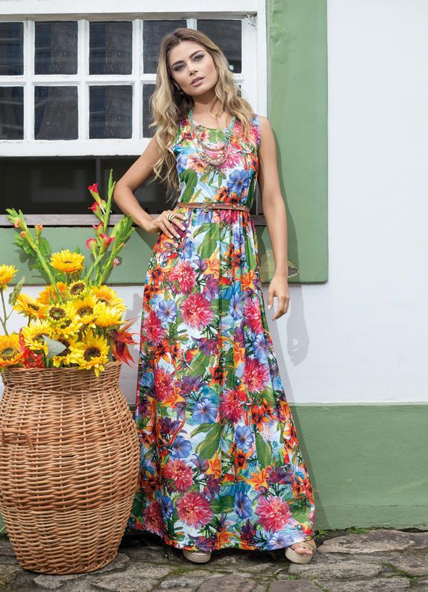 445415394 Queima estoque - Vestido Longo Recorte na Cintura Floral - Queima de ...
