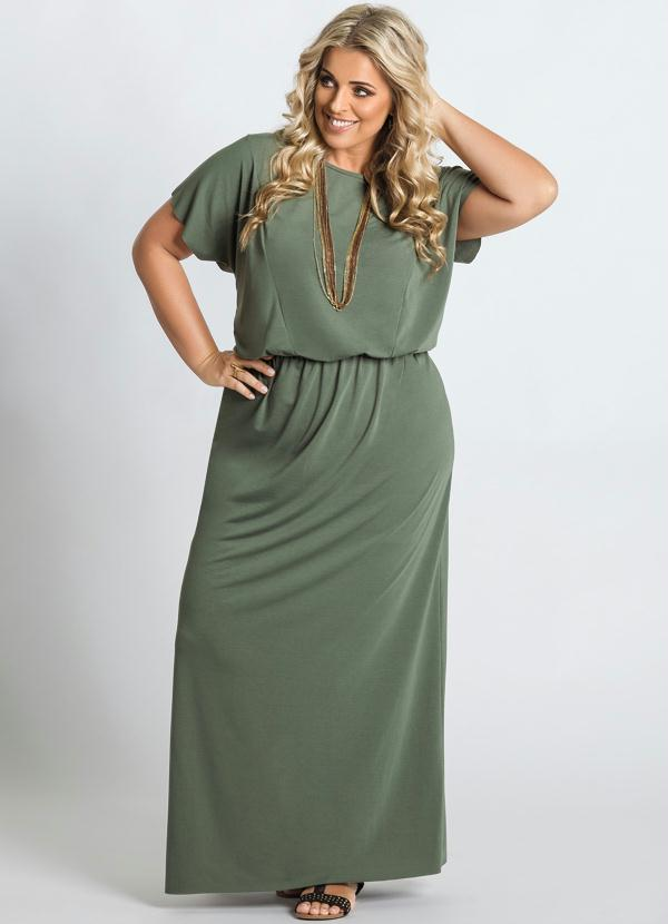 0f05036a33 Marguerite - Vestido Longo Verde Detalhe Fenda Plus Size - Marguerite
