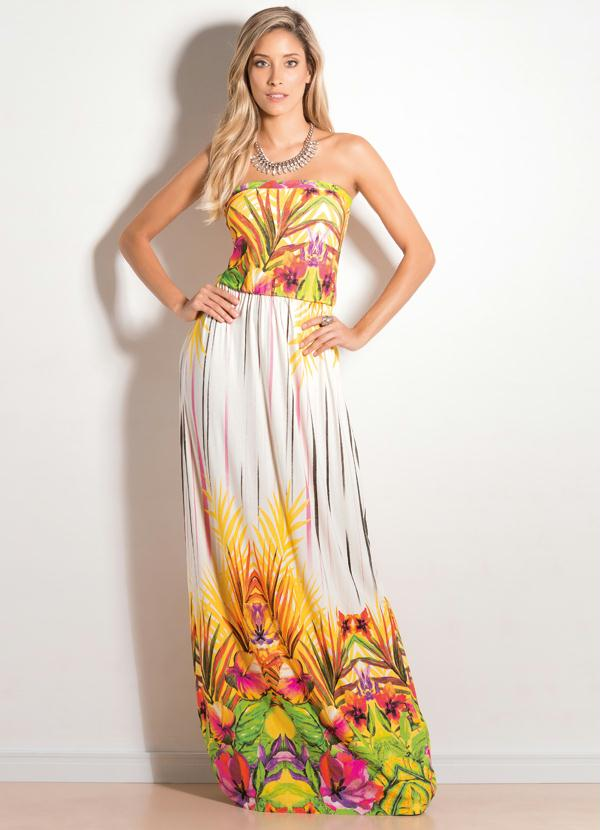 aad5fc5734 Quintess outlet - Vestido Tomara que Caia Longo Tropical - Quintess ...