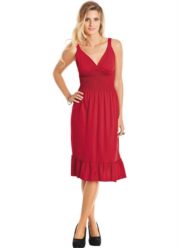 ec61fc2894 Queima estoque - Vestido Vermelho Decote em V - Queima de Estoque