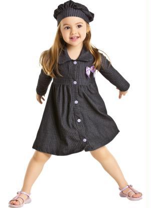 Queima de Estoque - Vestido Bebê Jeans com Boina - Queima de Estoque 2bb2d6d872d