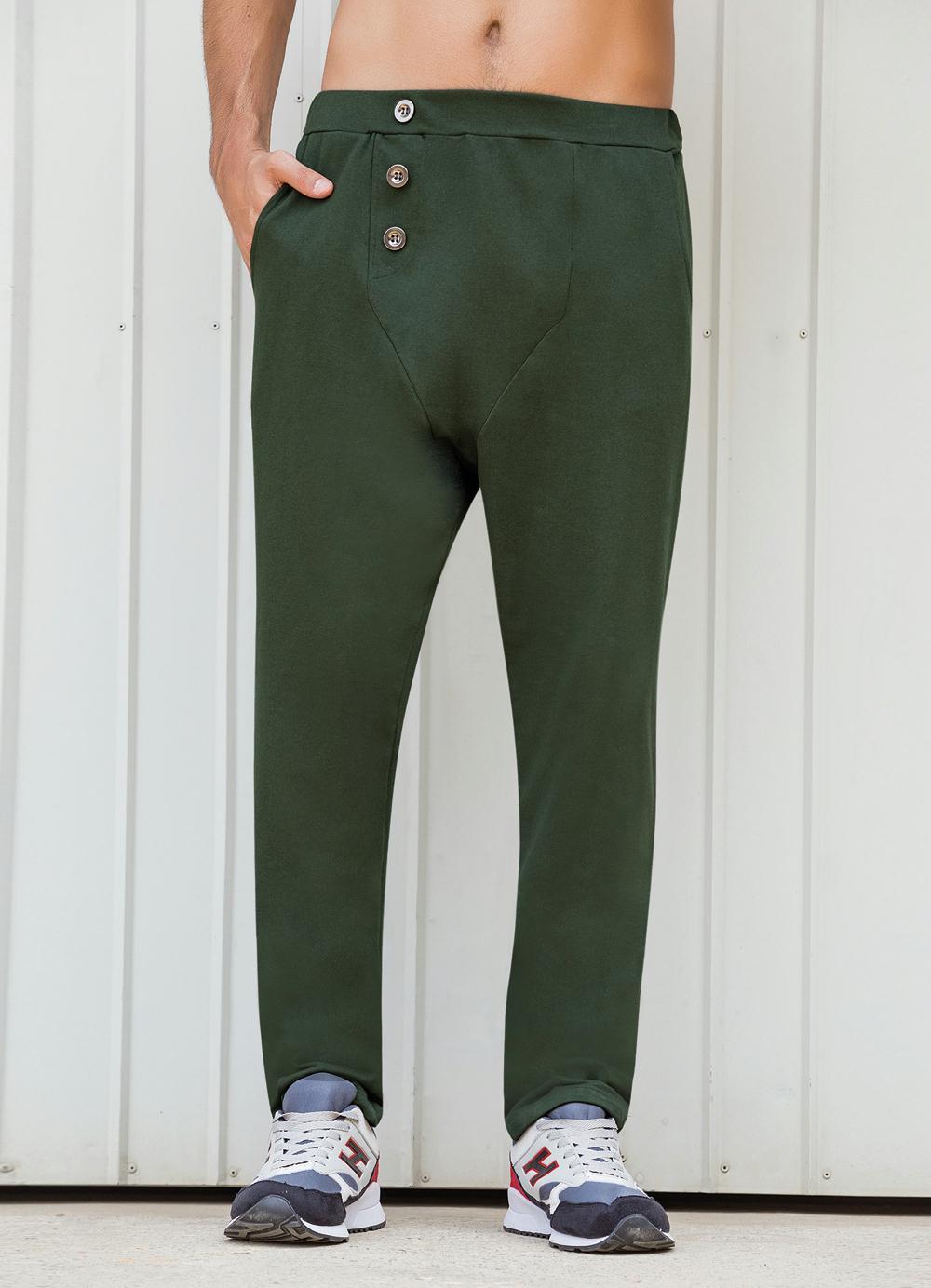 55db96d5f Calça Verde Saruel com Botões Frontais - Queima de Estoque