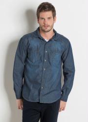 Camisa Actual em Jeans Azul Claro Bom Bolsos