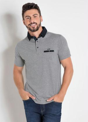 9bf849b9ce367 Actual - Camisa Polo Cinza Bolso e Gola com Estampa Poá