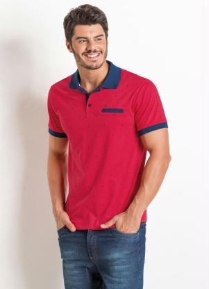 990aa233e3 Actual - Camisa Polo Vermelha Actual com Detalhe de Bolso