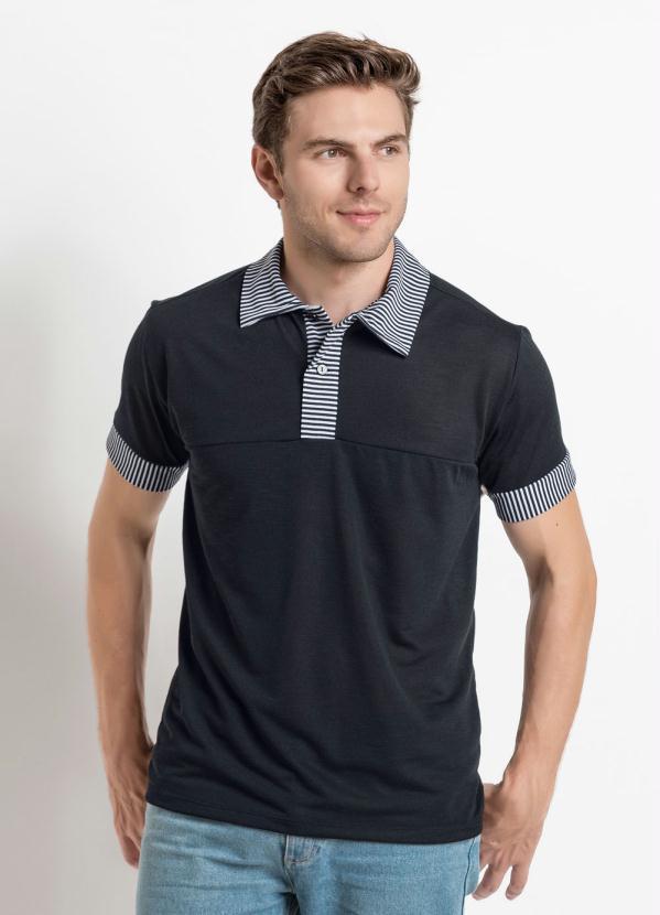 2bb2036680 Moda pop - Camisa Gola Polo Preta com Recortes em Listras - Moda Pop
