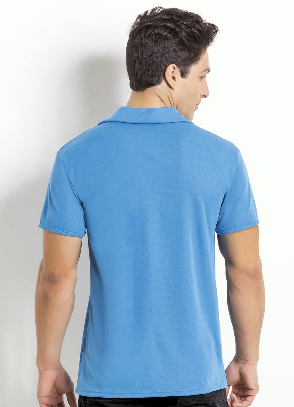 d5d9853695 Camisa Manga Curta Azul Gola Polo - Queima de Estoque