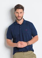 Camisa Polo Marinho em Algodão com Estampa