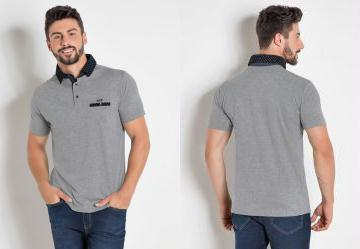 be07e0e8bd930 0.7145149111747742 Camisa Polo Cinza Bolso e Gola com Estampa Poá